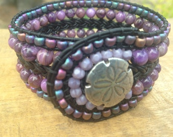 Crazy Purple Agate Sand Dollar Leather Cuff Bracelet