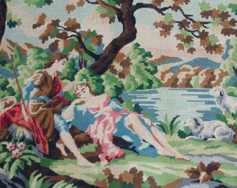 Large vintage French needlepoint tapestry canvas embroidery - Romance at the lake