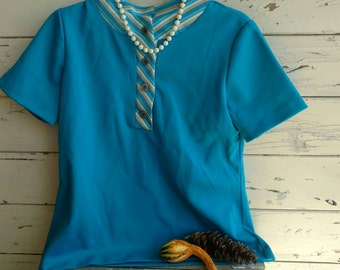 Retro Turquoise Polyester Shirt with Striped Collar - Vintage Hipster Top for Summer, Hipster Knit Top on SALE, Medium Short Sleeved Blouse