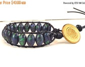 Clearance Sale Leather Cord Bracelet - Unisex - Gemstone - Azurite Malachite - Wrap Bracelet - Antique Button Clasp - Handmade