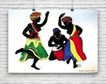 "Ebony Dancers, by Romeo Downer, African American Art, Print Poster - 24""x36"""