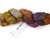 Malabrigo Merino Wool Lace Yarn, Piedras, rust, yellow, purple, color 862