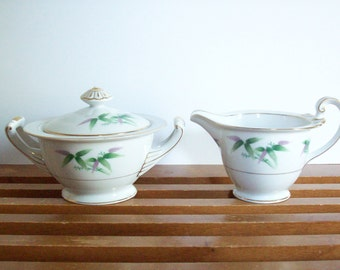 Vintage Harmony House Sugar and Creamer Set, Mandarin Pattern, Chinoiserie Chic Asian Style, Mid-Century China Sugar Bowl and Cream Pitcher