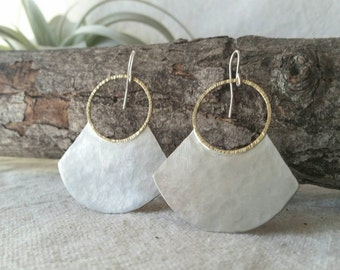 Mina . Hammered Sterling Silver and Brass Metalwork Handmade Earrings