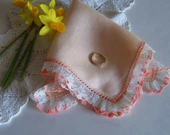 Vintage Wedding Handkerchief, Handmade Lace on Pastel Peach Line, Mother of the Bride Gift, Something Old, Happy Tears Hanky