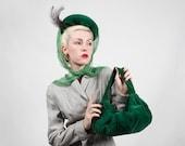 Vintage Rare 1940s Green Velvet Tilt Hat and Purse Set