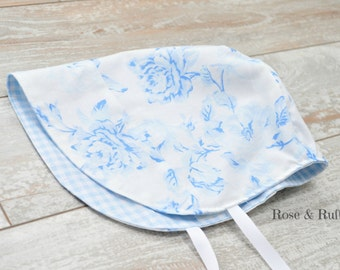 Blue and White Cotton Baby Bonnet, Gingham and Flowers, Size Newborn 0-3 Months, READY to SHIP, Rose and Ruffle