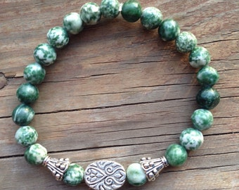 Handmade Tree Agate Stackable Stretch Bracelet Natural Stones