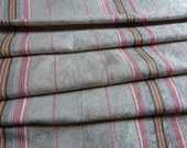 Vintage linen mattress ticking HUGE French red ticking stripe fabric antique red floral striped mattress toile supply textile French fabric