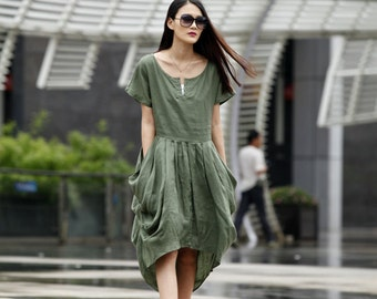 On Sale Size S Army Green Short Sleeves Linen Dress-A002-1