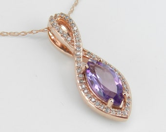 """Amethyst and Diamond Halo Pendant Necklace Rose Gold 18"""" Chain February Birthday"""