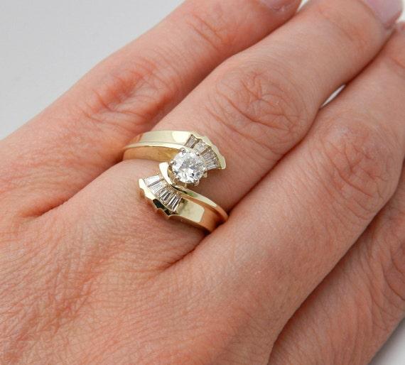 Diamond Engagement Ring 14K Yellow Gold Round Bypass Size 6.25