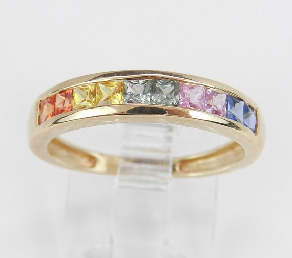 Multi Color Sapphire Wedding Ring Anniversary Band Yellow Gold Size 5.75 Pink Blue Orange