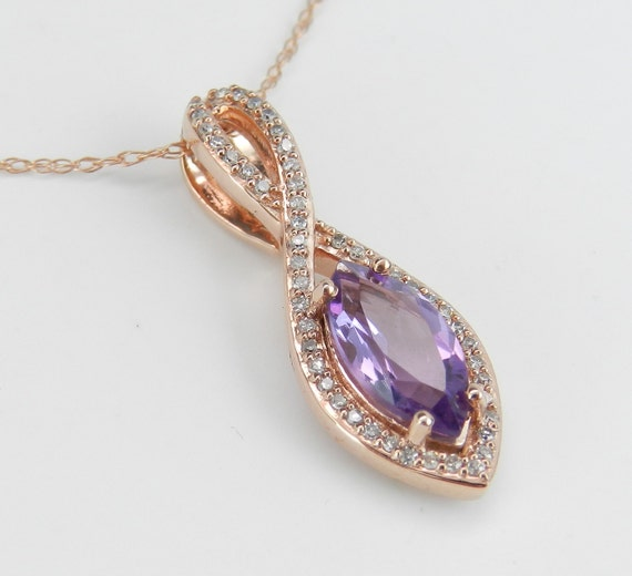 "Amethyst and Diamond Halo Pendant Necklace Rose Gold 18"" Chain February Birthday"