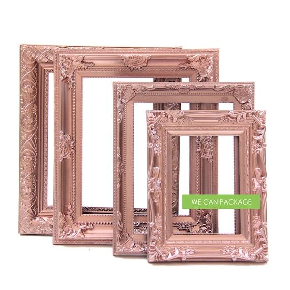 rose gold picture frames set of 4 wedding frames shabby. Black Bedroom Furniture Sets. Home Design Ideas