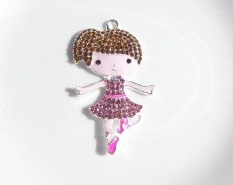 52mm Dark Haired Little Ballerina Girl Rhinestone Pendant, N4
