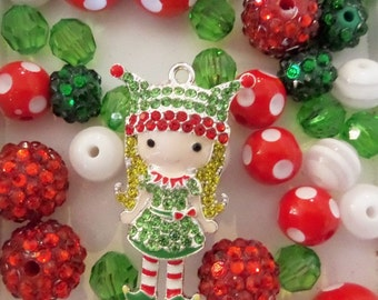 Christmas Bead Collection with Pendant, K33
