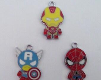 3CT. Super Hero Inspired Charm Set, Set of 3, Y18