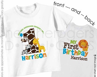 Jungle Birthday Shirt or Bodysuit (Boy Front & Back Shirt) -- Personalized Zoo First Birthday Shirt - Monogram Jungle 1st Birthday Outfit
