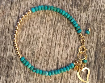 14 K Gold - Turquoise - Heart Charm - solid gold - Rustic Gold Bracelet - Artisan Gold Jewelry