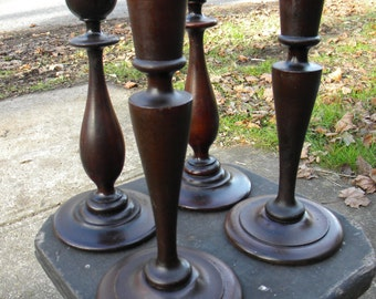 4 antique vintage 1930sv 1940s wooden turned MAHOGANY CANDLE HOLDERS candlesticks