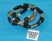 SPECIAL SALE- Black and Smoky Beads, Pewter, Silver Fluted & Scribed Spacers on Spring Wire Bracelet - Fits Any Wrist - W