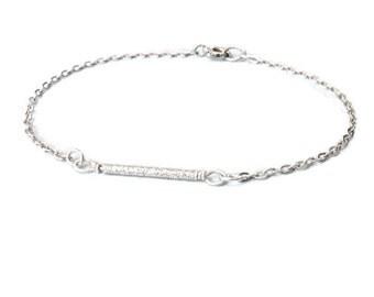 petite sterling silver bar layering chain bracelet. dainty silver jewelry.