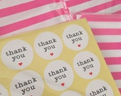 60* Thank You Red Heart Kraft Sticker Party Labels  - Gift tags, favours , seal