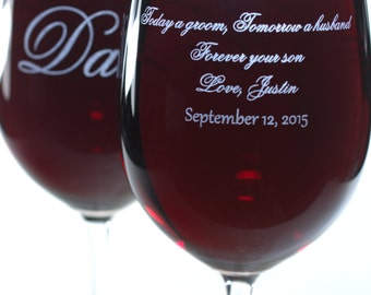Mom or Dad Wedding Gift - Large Personalized Crystal Wine Glass