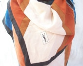 YSL Scarf ~ Yves Saint Laurent ~ 100% Silk ~ Geometric ~ 70's era ~ Classic ~ Foulards