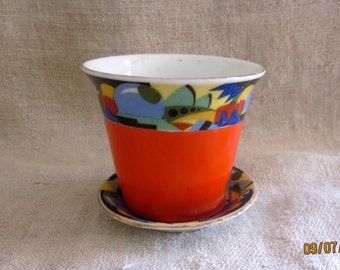 Sweet Small Deco Flower Pot Czech Pottery Vibrant Colors Victoria China Czechoslovakia