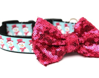Dog Collar Bow Add-On Hot Pink Sparkle Bow for Dogs