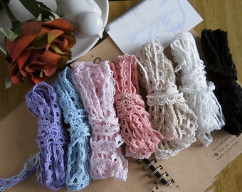 """20 yard 1cm 0.39"""" wide black/ivory/pink/beige/blue/purple/navy cotton scallop tapes lace trim ribbon by65 free ship"""