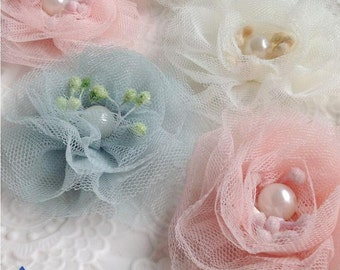 "28pcs 8cm 3.14"" wide ivory/pink/dusk blue beads mesh tulle gauze lace appliques patches brooches 33213 free ship"