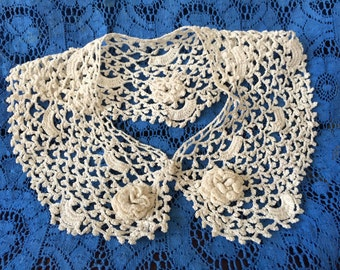 Vintage Irish Rose Hand Crochet Collar