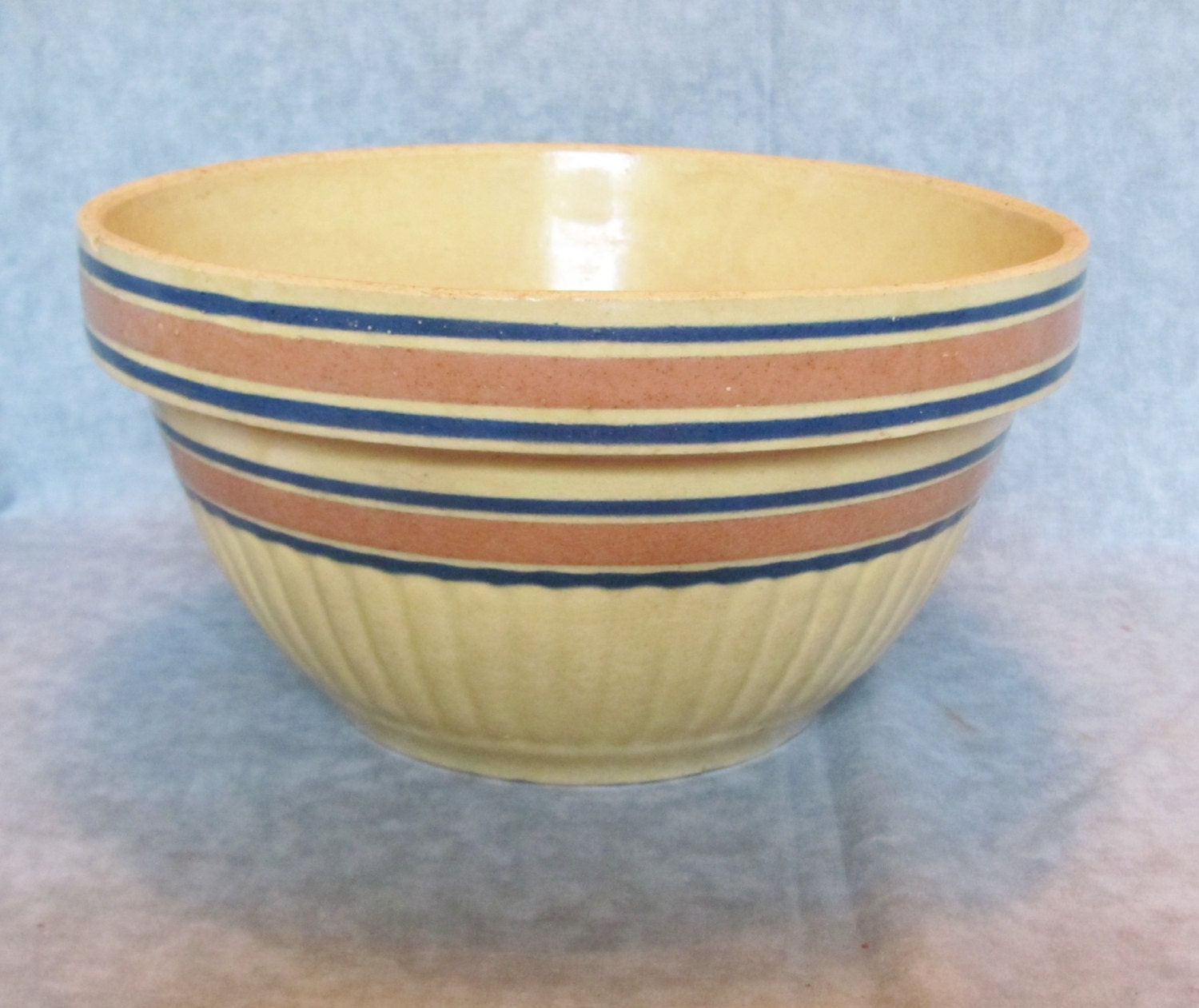 Red Wing Crock Bowl / Yellow Ware Ribbed Crock Bowl / Antique