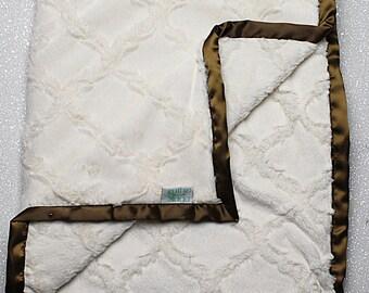 custom Minky Blanket, wedding gift, cream blanket, adult blanket, brown wedding blanket, wedding gift, wedding blanket, brown blanket, gift