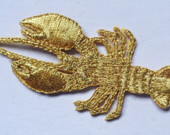 Iron On Patch Applique - Lobster Metallic Gold.