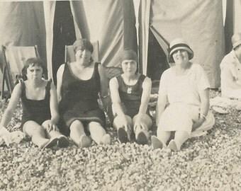 Vintage Snapshot Photo - Bathing Costumes - Swimsuits - Cloche - Rocky Beach - Summer - Ocean - Paper Ephemera