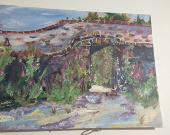 Impressionist Style Painting of Garden Wall