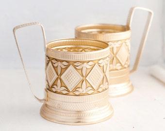 Christmas Sale 15 % Vintage Glass Holders - Vintage Drinking set of 2- Antique Decor - Tea Party Favors