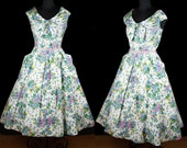 1950s Dress // Bright Floral Polished Cotton Sleeveless Shawl Collar Full Skirt Dress