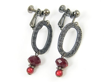 Red Clip on Earrings Burgundy Bead Dangle Gunmetal Oval Screw Back Earrings