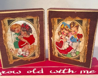 Vintage Valentine Card Blocks Valentine Shelf Sitter Will You Marry Me Marriage Proposal Grow old With Me