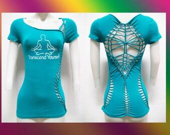 """T-4001 Juniors / Womens Cut Shirt """"TRANSCEND"""" Weaved, Yoga Wear, Beach Wear, Club Wear, Zen Wear"""