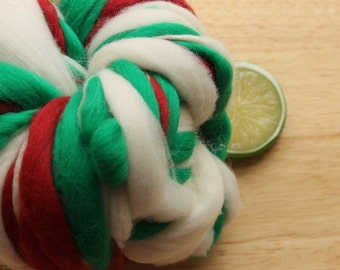 Merry - Handspun Merino Wool Yarn Red Green Thick and Thin Skein