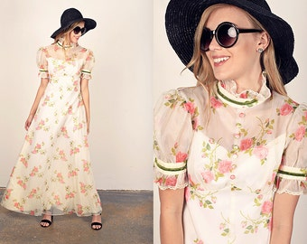 70s Roses Dress Vintage Chiffon Pink Garden Maxi Dress
