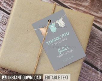 Mint Baby Shower, bodysuit theme  - Thank you Tags - Favor labels - Gender Neutral - INSTANT DOWNLOAD - Printable PDF with Editable Text