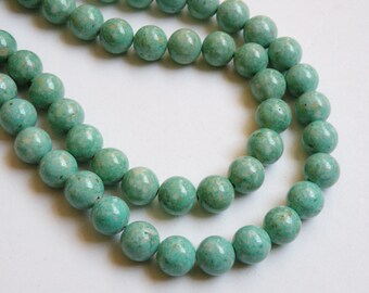 Riverstone beads in light green round gemstone 12mm full strand 9464GS