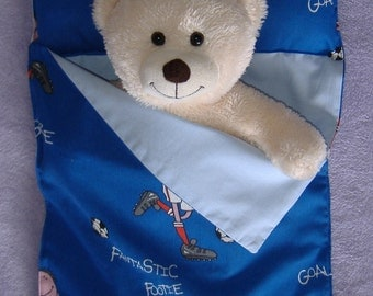 Blue Fantastic Footie Football Cotton sleeping bag for Build a Bear size.